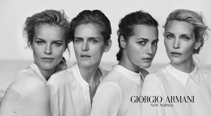 Nadja Auermann (1971), Yasmin Le Bon (1964), Stella Tennant (1970) y Eva Herzigova (1973), juntas en la campaña New Normal, Giorgio Armani 2016. Foto: Peter Lindbergh