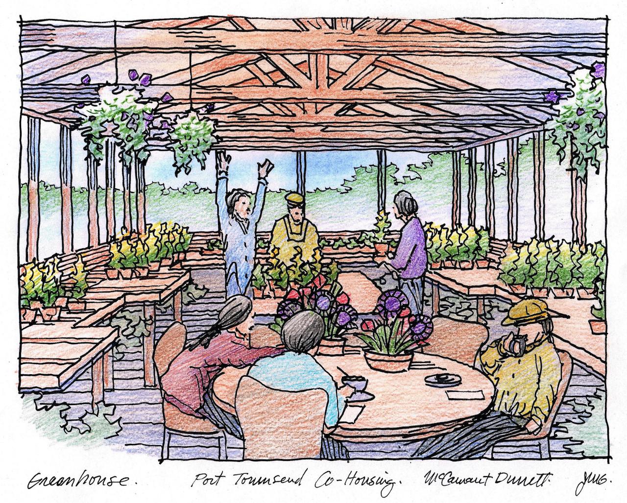 ilustración de uno de los proyectos de cohousing del estudio de arquitectos McCamant & Durrett Architects