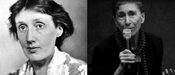 Virginia Woolf y Silvia Federici durante la conferencia que impartió en Madrid