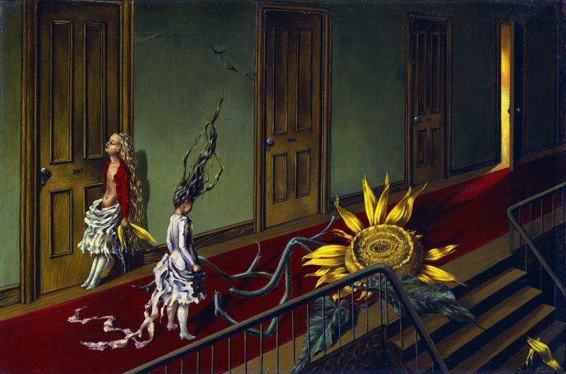 Exposición Somos plenamente libres. Las mujeres Artistas y el surrealismo en el Museo Piccaso de Málaga. Pequeña serenata nocturna de Dorothea Tunning, 1943. Tate, London 2015. The State of Dorothea Tanning/ADAGP, París/VEGAP Málaga