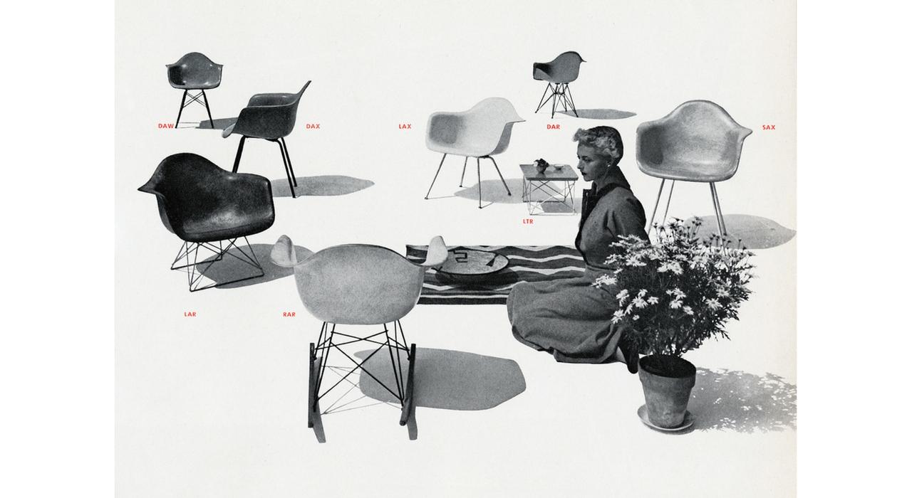 An Eames Celebration. Foto con los diferentes modelos Eames Plastic Armchair para el catálogo Herman Miller, 1952. ©Herman Miller Archives