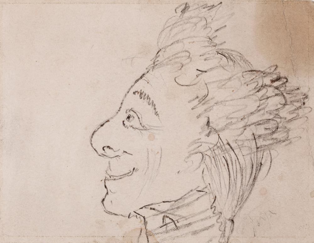 Caricatura masculina de Rosario Weiss y Francisco de Goya. Dibujo de formación, 1821-1824. Museo Lázaro Galdiano
