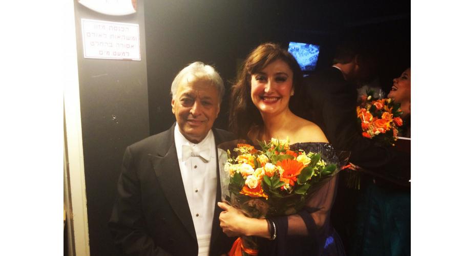Junto a Zubin Mehta en la ópera Un baile de máscaras en Tel Aviv