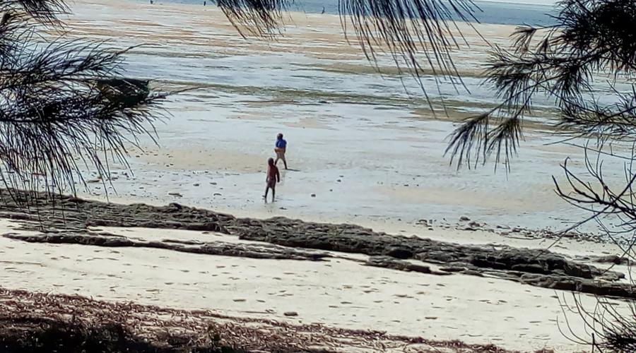 niños en la playa con la marea baja