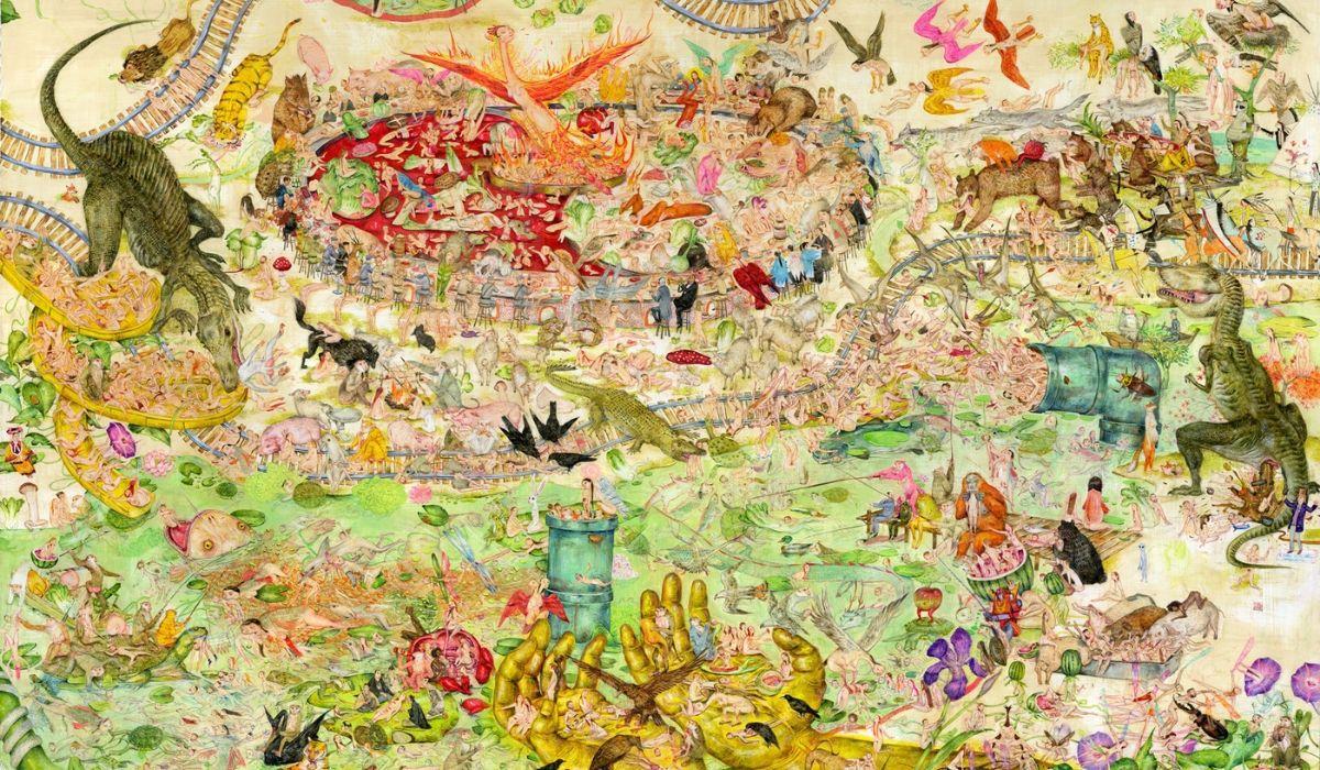 """Detalle del tríptico """"The Garden of Eden Delights"""", de Mu Pan (Taichung City, Taiwan) encargado por Espacio SOLO"""
