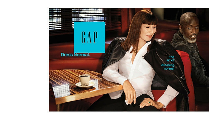 Angelica Huston (1951) para GAP, 2015. Foto: Sofia Coppola