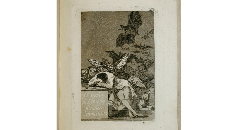 """Francisco de Goya y Lucientes, Caprichos. Primera edición, 1799 Abierto por """"El sueño de la razón produce monstruos"""" [Capricho, 43]Francisco de Goya y Lucientes, Caprichos. Primera edición, 1799 Abierto por """"El sueño de la razón produce monstruos"""" [Capricho, 43] ©Museo Lázaro Galdiano"""