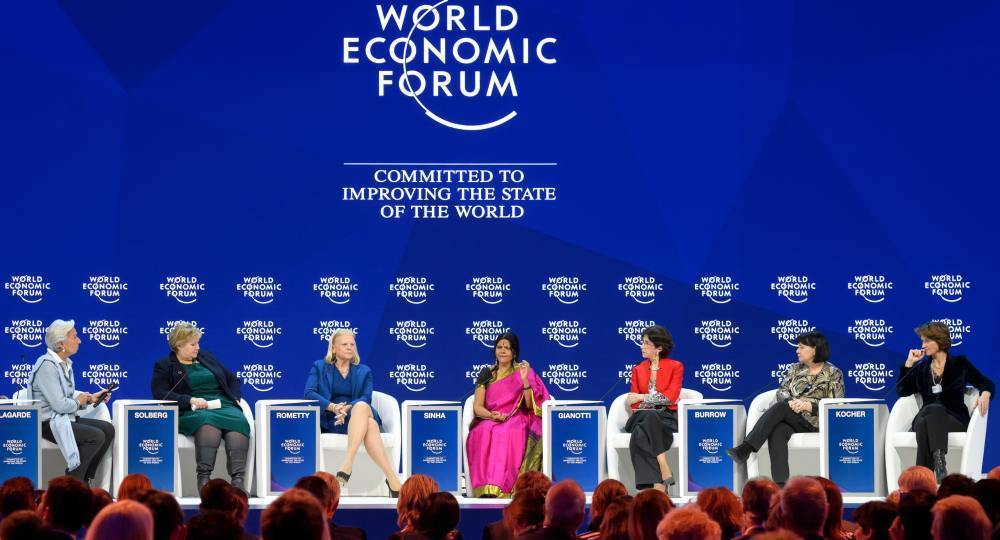 The Co-Chairs of the annual World Economic Forum: International Monetary Fund (IMF) Managing Director Christine Lagarde and Prime Minister of Norway Erna Solberg, IBM Chairperson and CEO Ginni Rometty, Founder and Chair of Mann Deshi Foundation Chetna Sinha, European Organization for Nuclear Research (CERN) Director-General Fabiola Gianotti, International Trade Union Confederation (ITUC) General Secretary Sharan Burrow and ENGIE CEO Isabelle Kocher attend a session of the annual World Economic Forum (WEF) on January 23, 2018 in Davos, eastern Switzerland. / AFP PHOTO / Fabrice COFFRINI