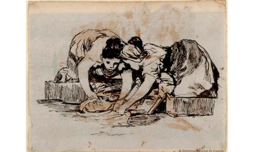Mujeres lavando. Rosario Weiss y Francisco de Goya. Dibujo de formación, 1921-24. BNE.