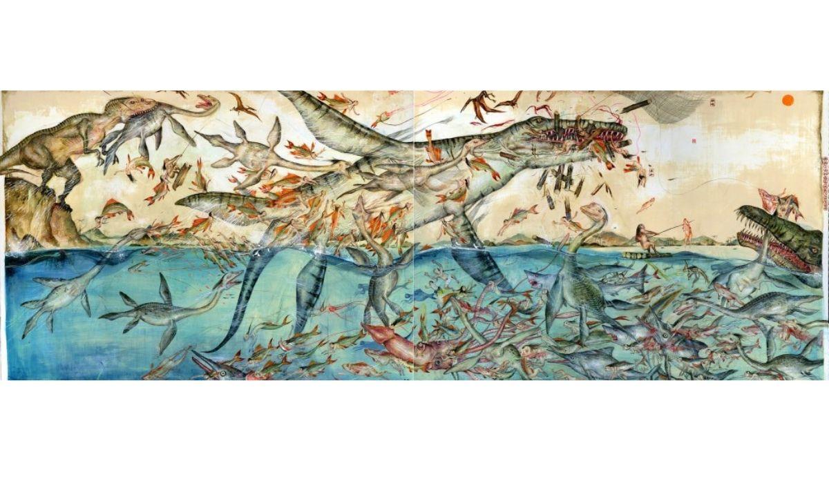 """""""Dinoasshole Chapter 8. Fish Die and The Net Breaks"""" de Mu Pan (Taichung City, Taiwan) en Espacio SOLO"""